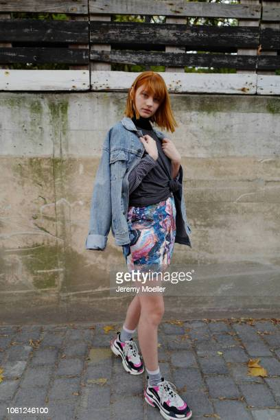 Trixi Giese wearing Balenciaga Triple S and a Jeans jacket on October 28 2018 in Berlin Germany