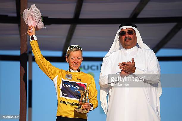 Trixi Worrack of Germany and Canyon SRAM Racing celebrates winning the 2016 Ladies Tour of Qatar from the Aspire Zone to the Doha Corniche on...