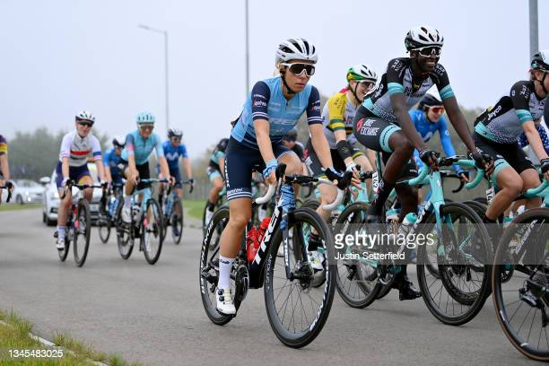 Trixi Worrack of Germany and Team Trek - Segafredo and Teniel Campbell of Trinidad and Tobago and Team BikeExchange compete during the 7th The...