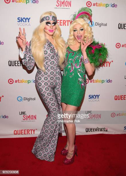 Trixie Mattel and Laganja Estranja attends the Queerty presents 'The Queerties' Award Reception on February 27 2018 in Los Angeles California