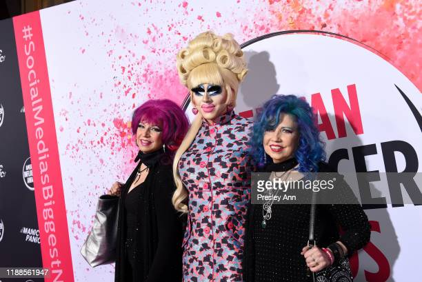 Trixie Mattel and Snookie and Trish Bellomo pose backstage during the 2nd Annual American Influencer Awards at Dolby Theatre on November 18 2019 in...