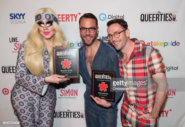 Trixie Mattel John Halbach and Kit Williamson attend the Queerty presents 'The Queerties' Award Reception on February 27 2018 in Los Angeles...