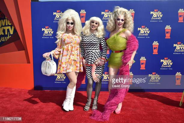 Trixie Mattel Katya and Alyssa Edwards attend the 2019 MTV Movie TV Awards at Barker Hangar on June 15 2019 in Santa Monica California