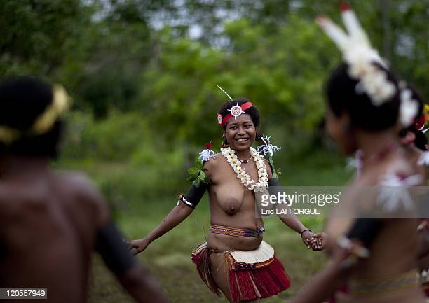 Trobriand Island in Papua New Guinea on October 06 2009 She wears the traditionnal skirt from the Trobriands the island of Love where teenagers have...