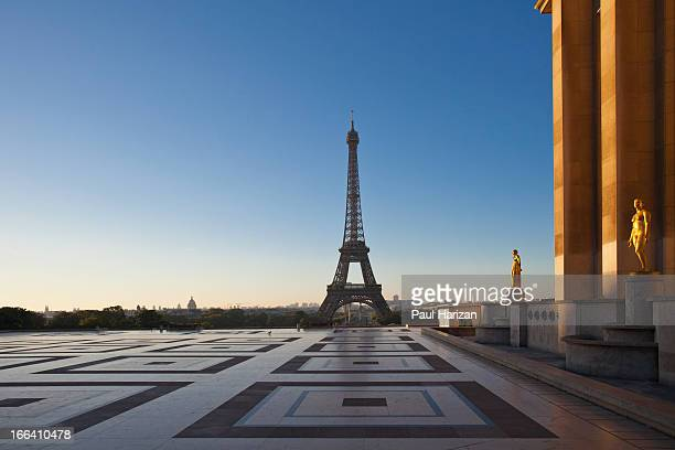 Trocadero place with Eiffel tower in the back