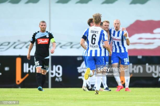Troels Klove of OB Odense and teammates celebrating his 2-0 goal during the Danish 3F Superliga match between OB Odense and SonderjyskE at Nature...