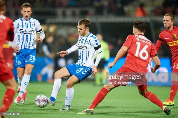 Troels Klove of OB Odense compete for the ball during the Danish Alka Superliga match between FC Nordsjalland and OB Odense at Right to Dream Park on...