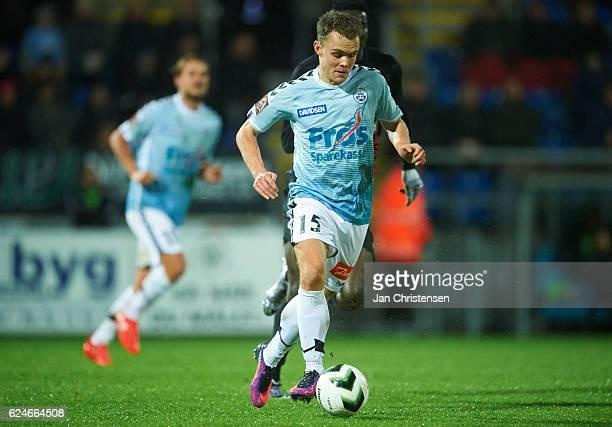 Troels Klove of SonderjyskE controls the ball during the Danish Alka Superliga match between SonderjyskE and FC Midtjylland at Sydbank Park on...