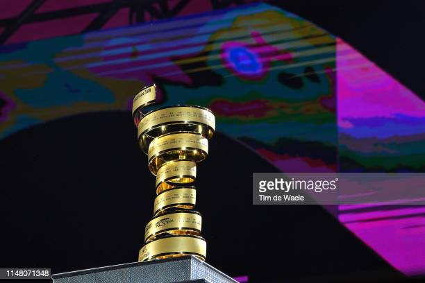 Trofeo Senza Fine / Trophy / Detail view / during the 102nd Giro d'Italia 2019 Team Presentation / Piazza Maggiore di Bologna / Palazzo d'Accursio /...