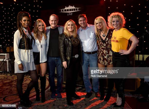 Troi Irons Lindsay Ell creator of Skyville Live Wally Wilson Melissa Etheridge CEO of Skyville Live Bryan Lee Orianthi and Cam attend a special...