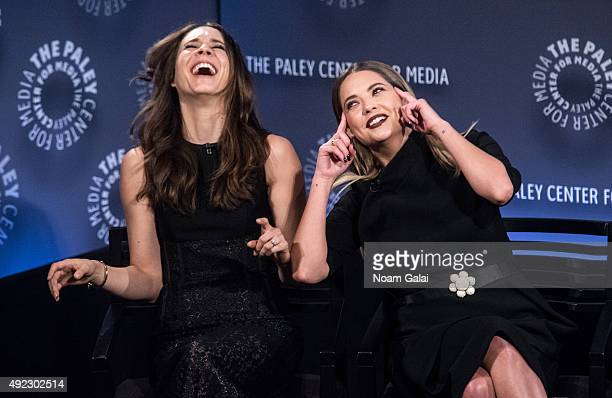 Troian Bellisario and Ashley Benson attend 'Pretty Little Liars' QA during the PaleyFest New York 2015 at The Paley Center for Media on October 11...