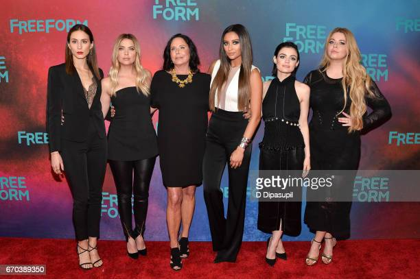 Troian Bellisario Ashley Benson I Marlene King Shay Mitchell Lucy Hale and Sasha Pieterse attend the Freeform 2017 Upfront at Hudson Mercantile on...