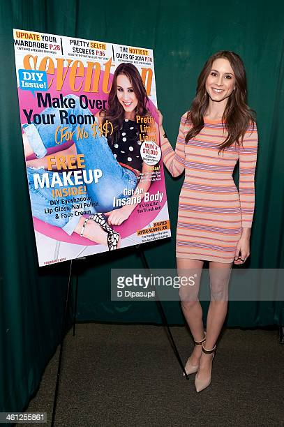 Troian Bellisario attends the Seventeen Magazine February Issue Unveiling With Troian Bellisario at Barnes Noble 82nd Street on January 7 2014 in New...