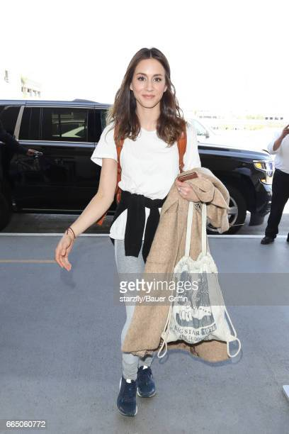 Troian Bellisario is seen at LAX on April 05 2017 in Los Angeles California