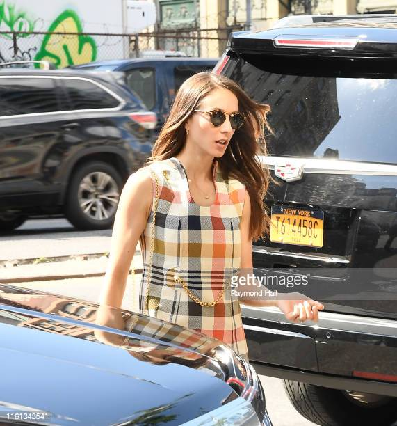 Troian Bellisario is ssen walking in SoHo on August 12, 2019 in New York City.