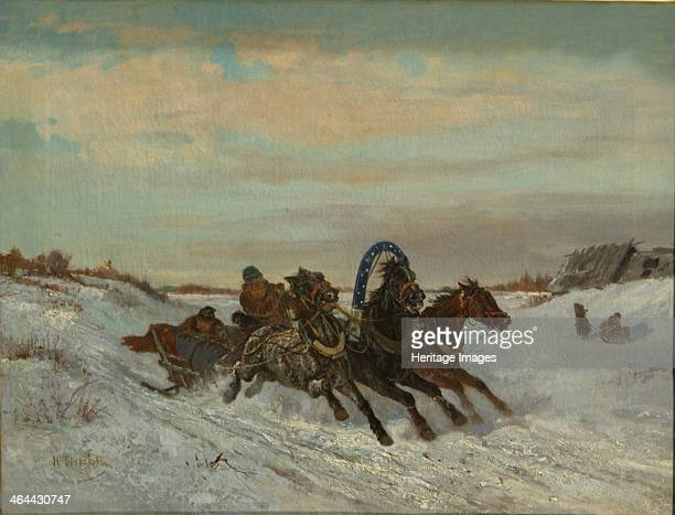 Troika on a Winter Road End 1860sEarly 1870s From a private collection