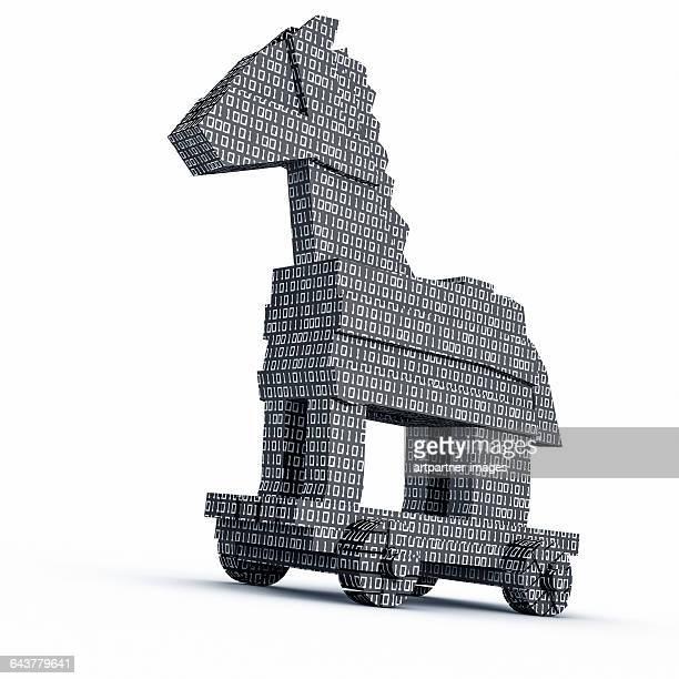 trojan horse as a computer virus - cavallo di troia foto e immagini stock