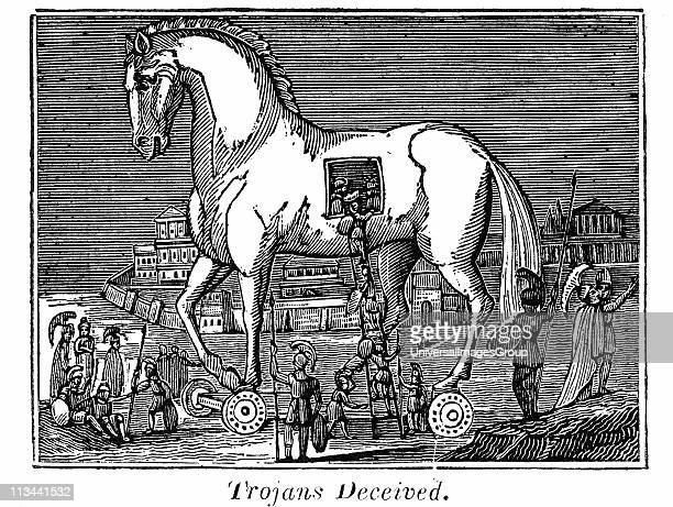Trojan Horse Greek raiding party secreting themselves in the great wooden horse 13th or 12th century BC From the Rev Royal Robbins The World...