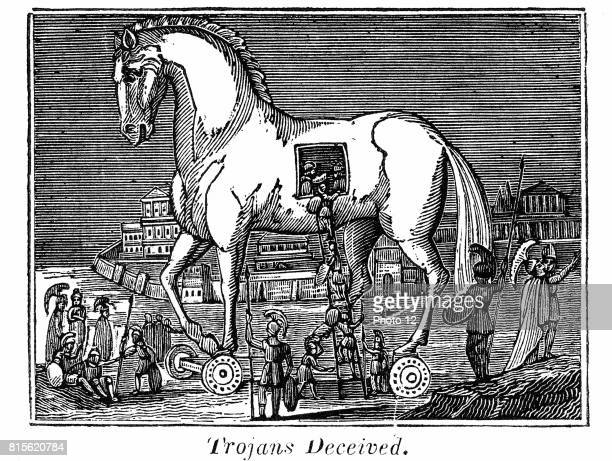 Greek raiding party secreting themselves in the great wooden horse 13th or 12th century BC From the Rev Royal Robbins The World Displayed New York...