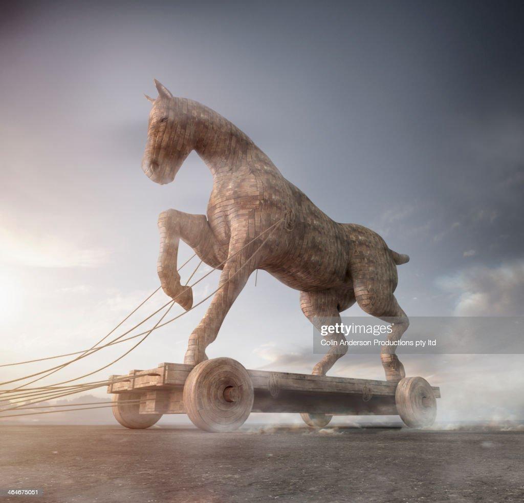 Trojan horse on cart : Stock Photo