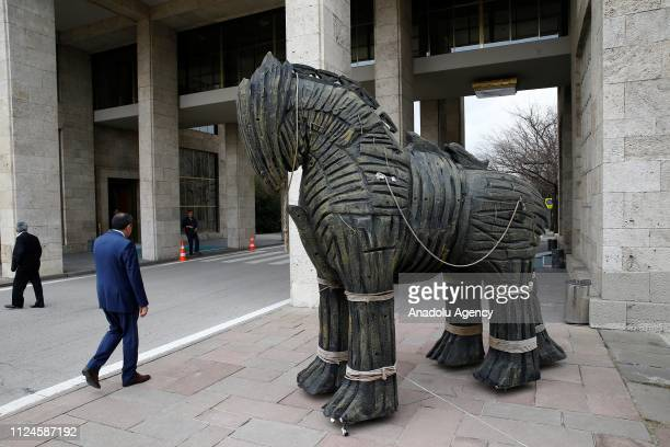 Trojan Horse statue is brought to Grand National Assembly of Turkey for the premier of Treasures of Troy A Century Old Longing documentary in Ankara...