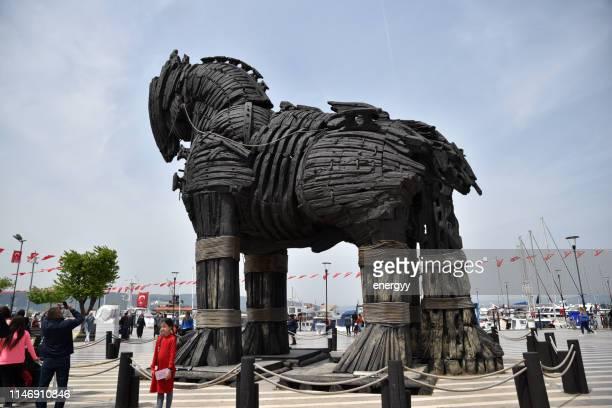 trojan horse statue - cavallo di troia foto e immagini stock