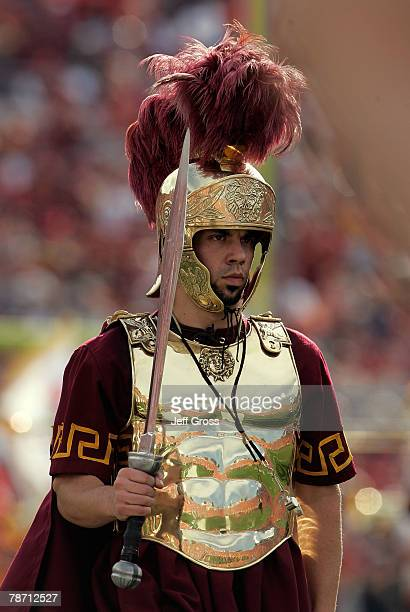 Trojan mascot walks the field during pregame festivities prior to the Rose Bowl presented by Citi against the Illinois Fighting Illini at the Rose...