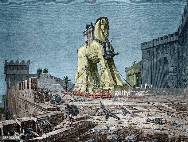 The Trojan horse the subterfuge that the Greeks used to enter the city of Troy Engraving 19th century private collection