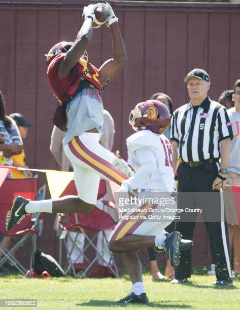 Trojan wide receiver Josh Imatorbhebhe makes a catch during USC Spring practice on Brian Kennedy/Howard Jones Field on the campus of the University...