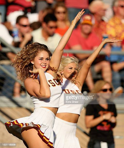 Trojans cheerleader cheers on her team during their game against the Stanford Cardinal at Stanford Stadium on September 15 2012 in Palo Alto...