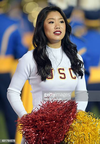 Trojans cheerleader on the field during a game against the UCLA Bruins played on November 19 at the Rose Bowl in Pasadena CA