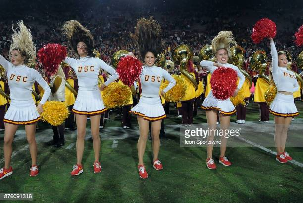Trojans cheerleaders on the field after the Trojans defeated the UCLA Bruins 28 to 23 in a game played on November 18 2017 at the Los Angeles...