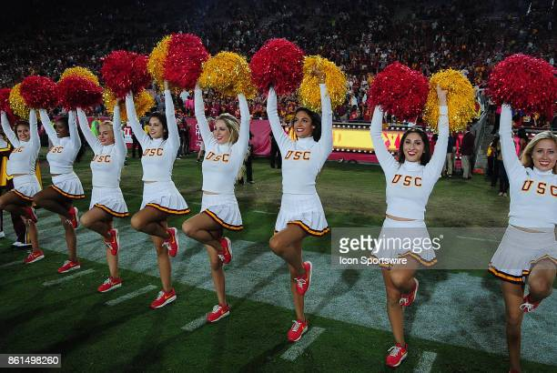 Trojans cheerleaders on the field after the Trojans defeated the Utah Utes 28 to 27 in a game played on October 14 2017 at Los Angeles Memorial...