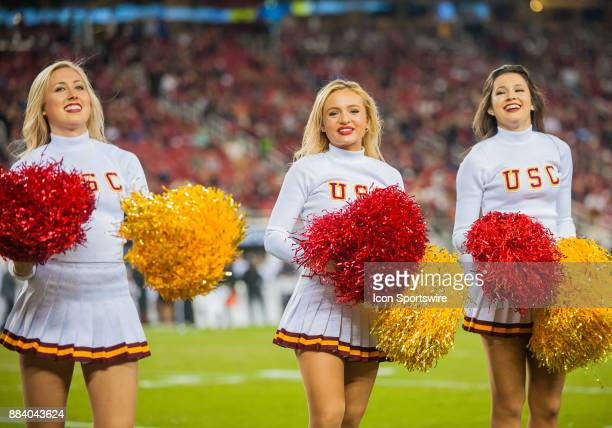 Trojans Cheerleaders on the sideline cheer on their team during the Pac12 Championship game between the Stanford Cardinal and the USC Trojans on...