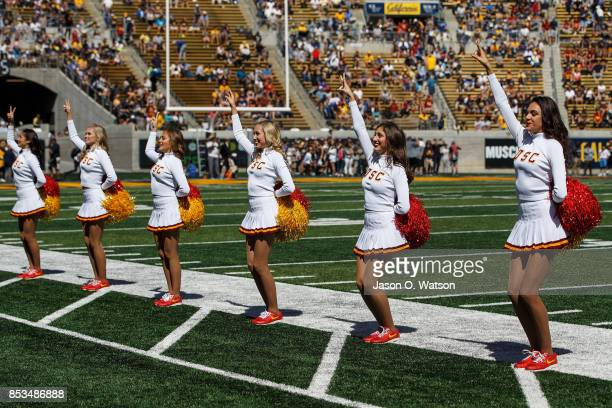 Trojans cheerleaders perform on the field before the game against the California Golden Bears at California Memorial Stadium on September 23 2017 in...