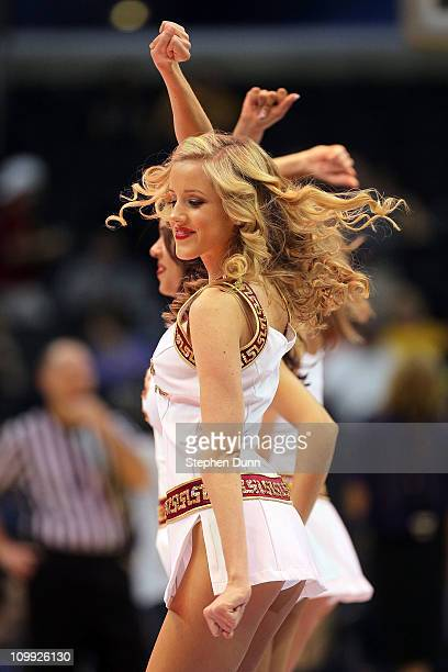 Trojans cheerleaders performs during a break in the game against the California Golden Bears in the quarterfinals of the 2011 Pacific Life Pac10...