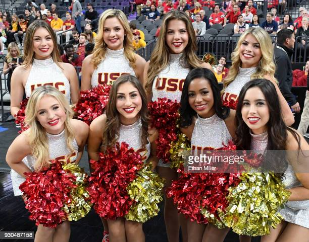 Trojans cheerleaders pose before the championship game of the Pac12 basketball tournament between the Trojans and the Arizona Wildcats at TMobile...
