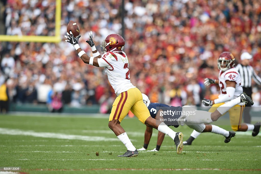USC Trojans DB-WR-RET Adoree' Jackson (2) with an interception during the first quarter of the USC Trojans game versus the Penn State Nittany Lions in the Rose Bowl Game on January 2, 2017, at the Rose Bowl in Pasadena, CA.