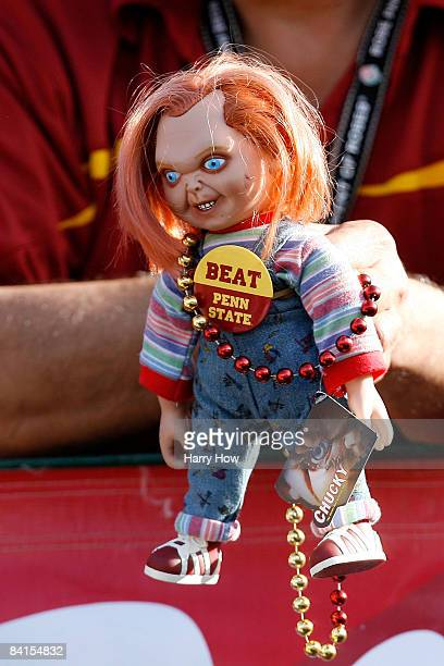 Trojans fan holds up a Chucky doll during the 95th Rose Bowl Game presented by Citi against the Penn State Nittany Lions on January 1 2009 at the...