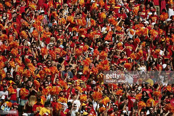 Trojans fans cheer against the Washington Huskies at the Los Angeles Memorial Coliseum on October 7, 2006 in Los Angeles, California. USC won 26-20.