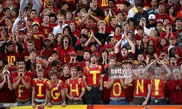 Trojans fans cheer in the game against the Washington State Cougars on September 22 2007 at the Los Angeles Coliseum in Los Angeles California USC...