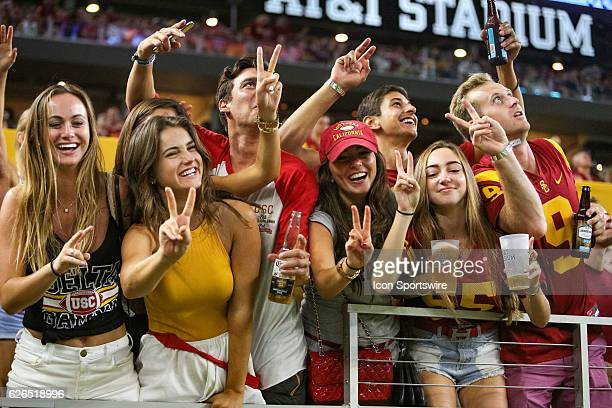 Trojans fans during the NCAA Advocare Classic between the USC Trojans and Alabama Crimson Tide at ATT Stadium in Arlington TX