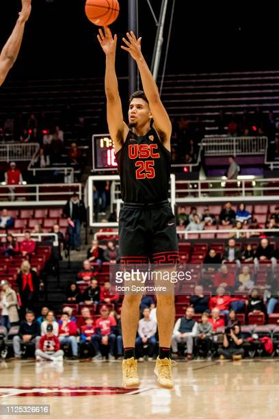 Trojans forward Bennie Boatwright shoots from distance during the men's college basketball game between the USC Trojans and Stanford Cardinal on...