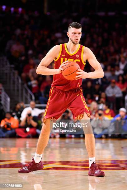 Trojans forward Nick Rakocevic looks to make a pass during the college basketball game between the UCLA Bruins and the USC Trojans on March 7 2020 at...