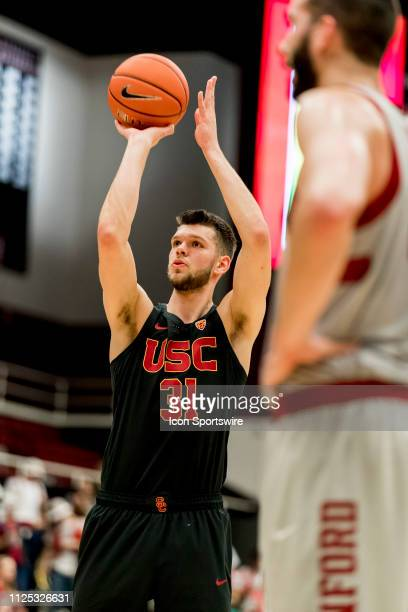 Trojans forward Nick Rakocevic shoots a free throw during the men's college basketball game between the USC Trojans and Stanford Cardinal on February...
