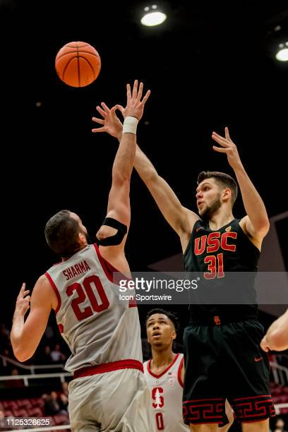 Trojans forward Nick Rakocevic shoots over the defense during the men's college basketball game between the USC Trojans and Stanford Cardinal on...