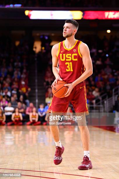 Trojans forward Nick Rakocevic squares up for a a shot during the college basketball game between the UCLA Bruins and the USC Trojans on March 7 2020...