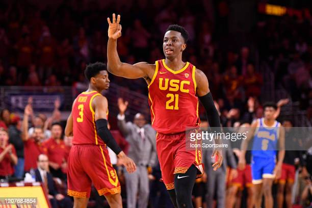 Trojans forward Onyeka Okongwu celebrates a three pointer during the college basketball game between the UCLA Bruins and the USC Trojans on March 7...