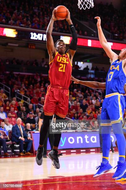 Trojans forward Onyeka Okongwu goes up for a dunk during the college basketball game between the UCLA Bruins and the USC Trojans on March 7 2020 at...