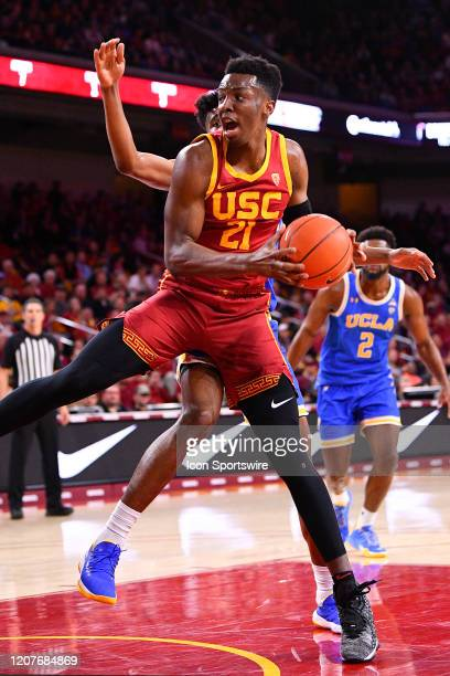 Trojans forward Onyeka Okongwu grabs a rebound during the college basketball game between the UCLA Bruins and the USC Trojans on March 7 2020 at...